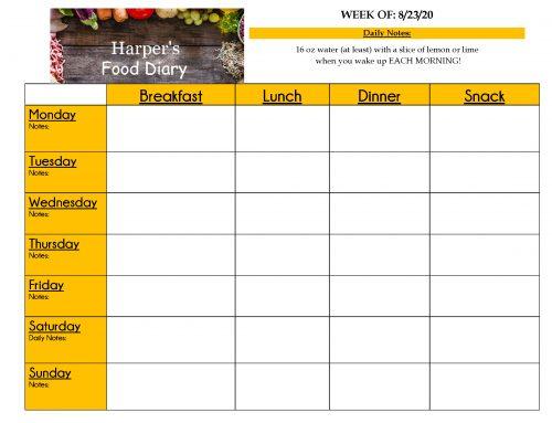 Blank Food Diary