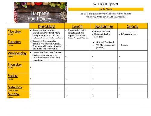 3-15-2021 Food Diary – Shirley Harper